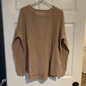 NEW Forever 21 Plus Taupe Open Back Knit Sweater